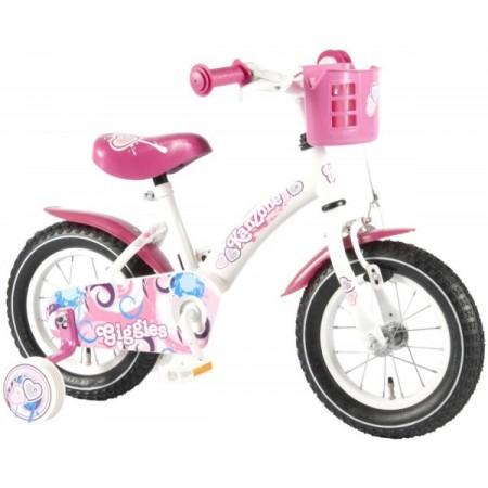 Bicicleta copii fete 12 inch Volare Bike Giggles cu roti ajutatoare si cosulet roz