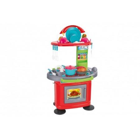 Bucatarie plastic echipata Globo pentru copii cu aragaz si alte accesorii