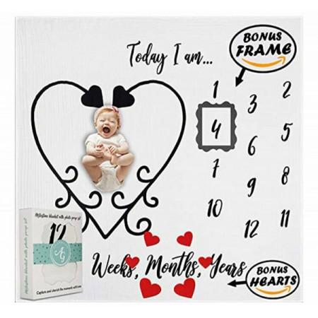 Milestone Blanket Paturica din bumbac organic pentru fotografii si amintiri - nou nascuti si bebelusi model Inimioare